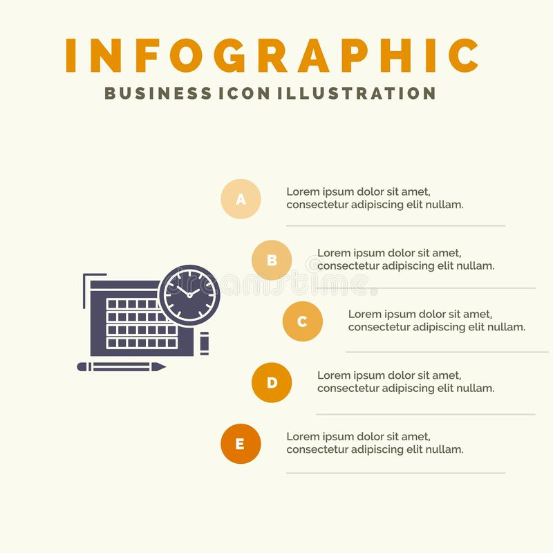 Time, File, Pen, Focus Solid Icon Infographics 5 Steps Presentation Background royalty free illustration