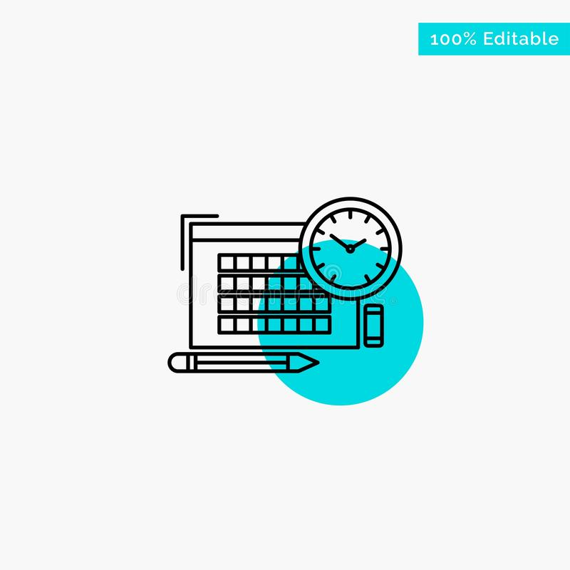 Time, File, Pen, Focus turquoise highlight circle point Vector icon royalty free illustration