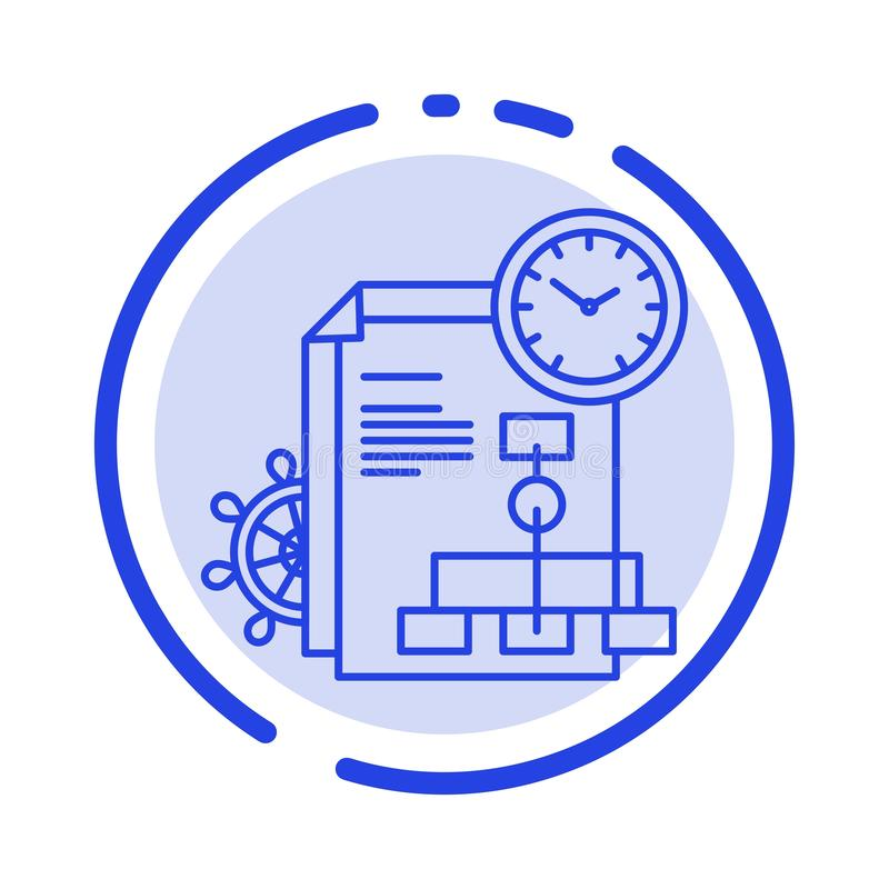 Time, File, Report, Business Blue Dotted Line Line Icon vector illustration