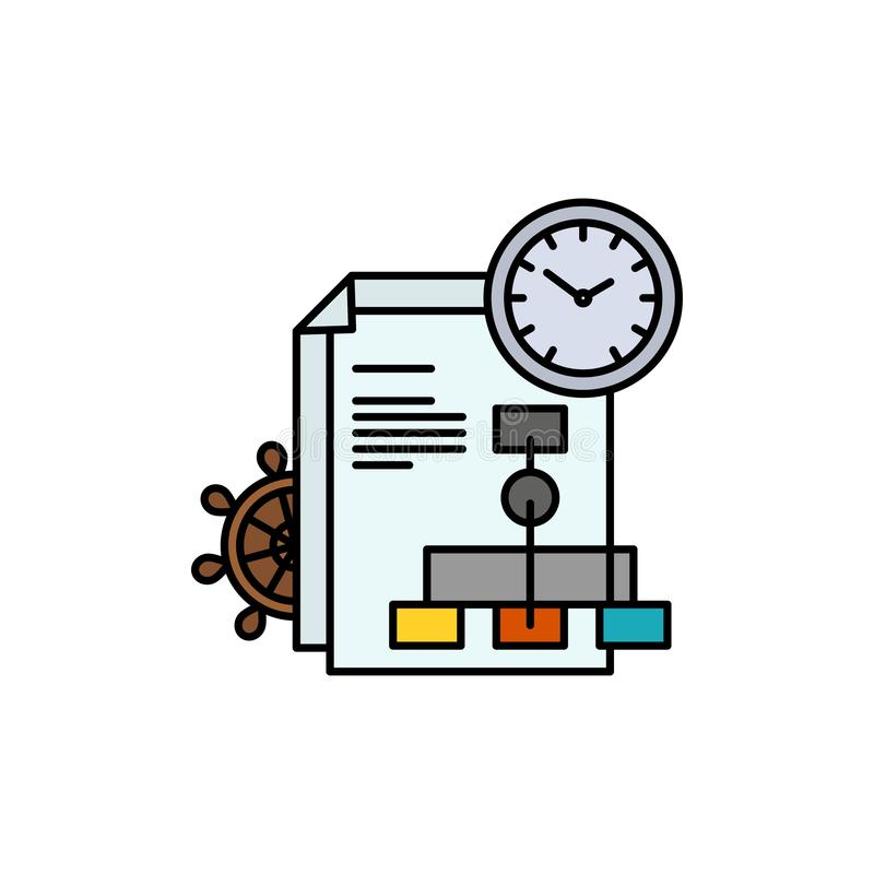 Time, File, Report, Business  Flat Color Icon. Vector icon banner Template vector illustration