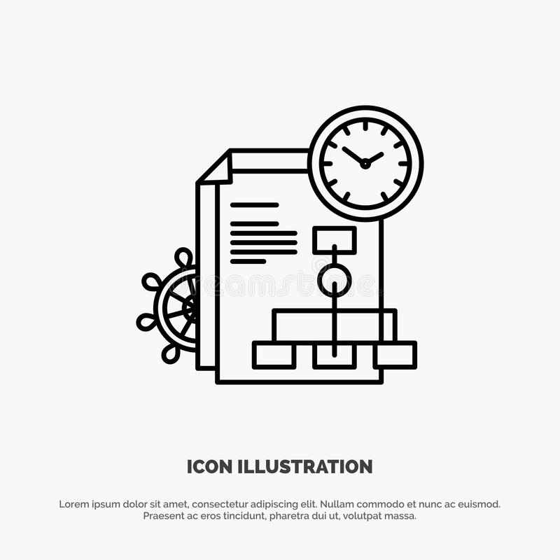 Time, File, Report, Business Line Icon Vector stock illustration