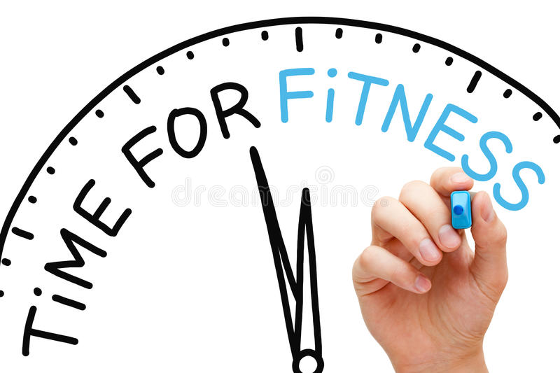 Time for Fitness. Hand writing Time for Fitness concept with blue marker on transparent wipe board royalty free stock images