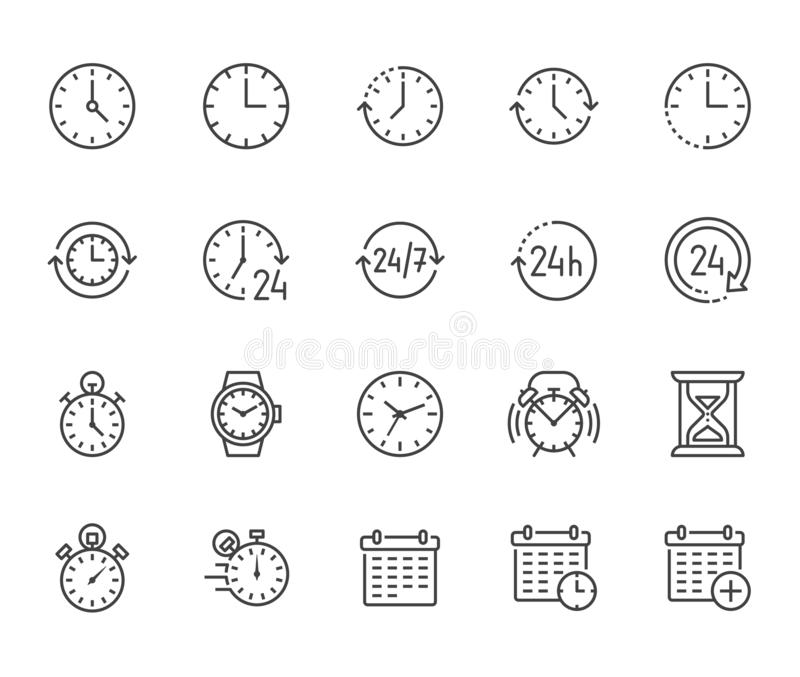 Time flat line icons set. Alarm clock, stopwatch, timer, sand glass, day and night, calendar vector illustrations. Thin stock illustration