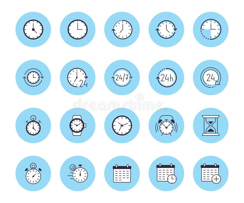 Time flat line icons set. Alarm clock, stopwatch, timer, sand glass, day and night, calendar vector illustrations. Thin. Signs for productivity management stock illustration