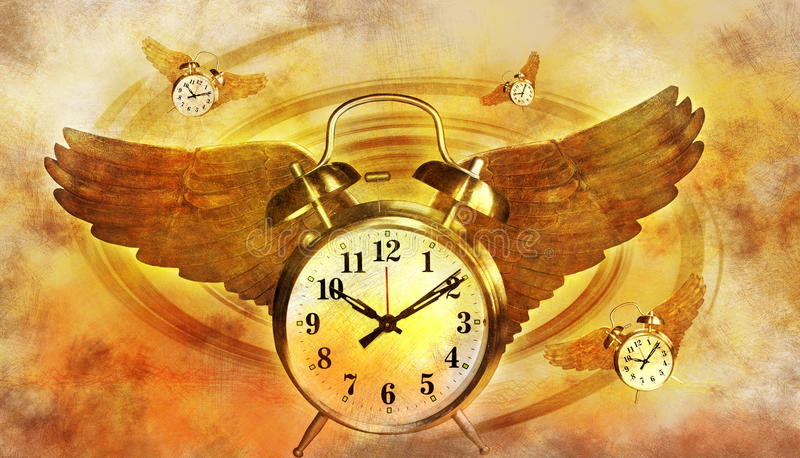 Time flying with wings stock images