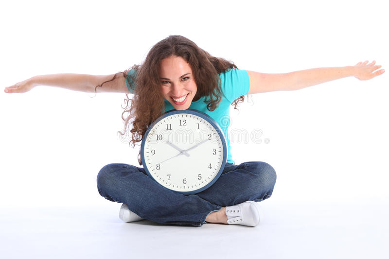 Time flies beautiful happy woman having clock fun royalty free stock photography