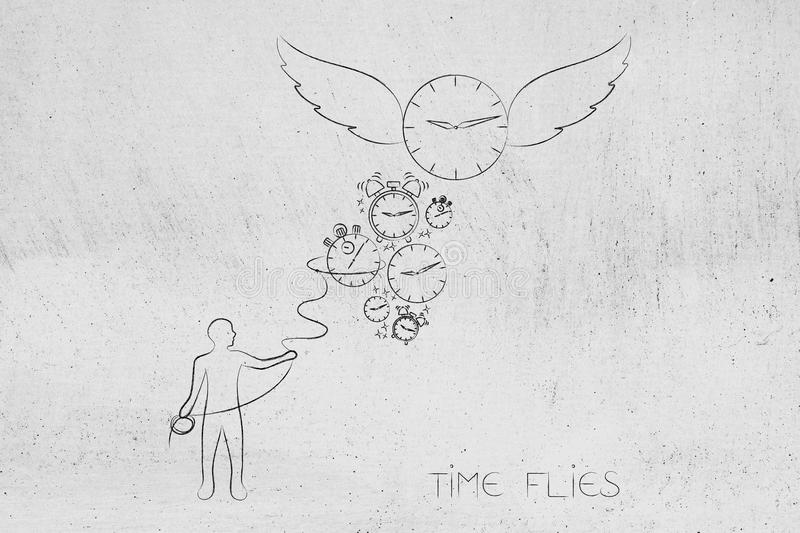 Time flies man with lasso trying to catch clocks and a big one w. Time flies conceptual illustration: man with lasso trying to catch clocks and a big one with stock illustration