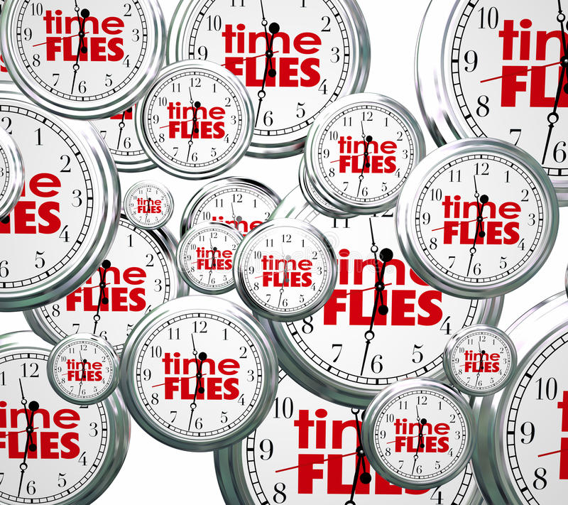 Time Flies 3d Clocks Words Future Past Present Speed Concept. Time Flies words on 3d clocks flying by to symbolize the speed of hours, days, weeks, months and stock illustration