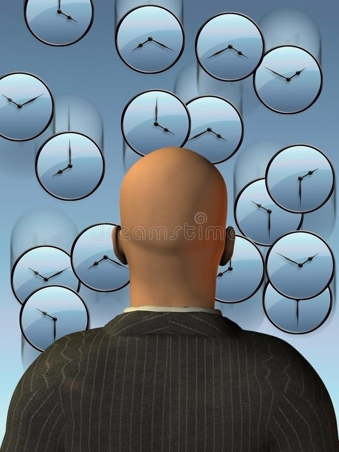 Time flow. Bald man stands before round clocks. Time flow. Human elements were created with 3D software and are not from any actual human likenesses stock illustration