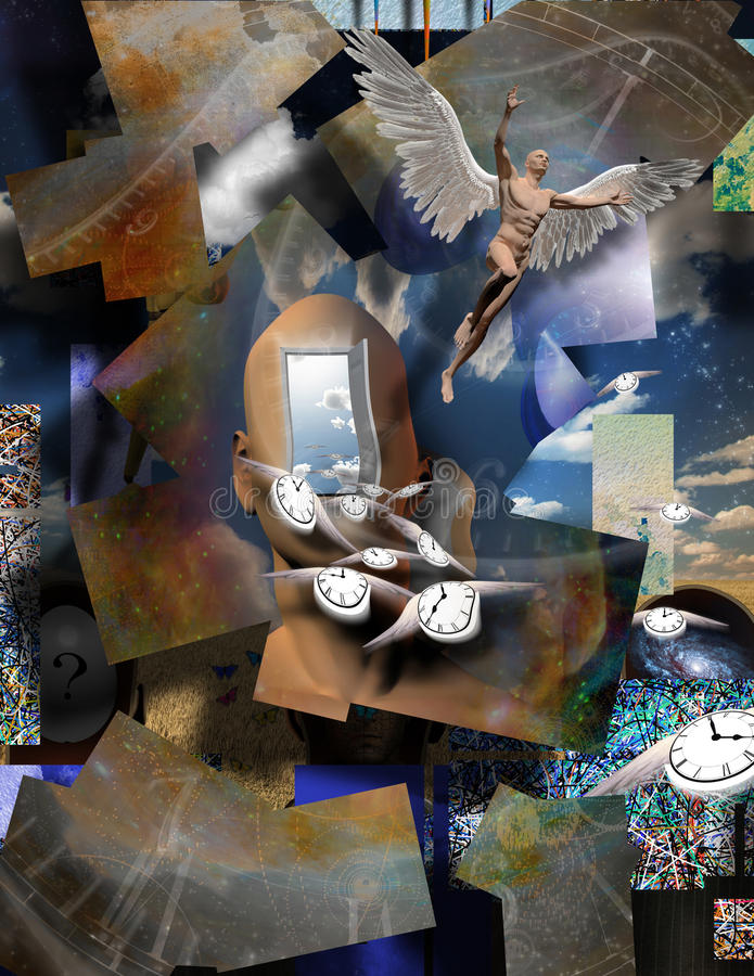 Time flow. Surrealism. Man`s head with opened door to another world. Naked man with wings represents angel. Winged clocks symbolizes flow of time. Warped space stock illustration
