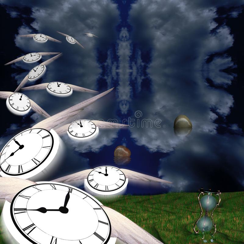 Time Flow. Symbolic composition. Hourglass and floating stones. Winged clocks represents flow of time vector illustration