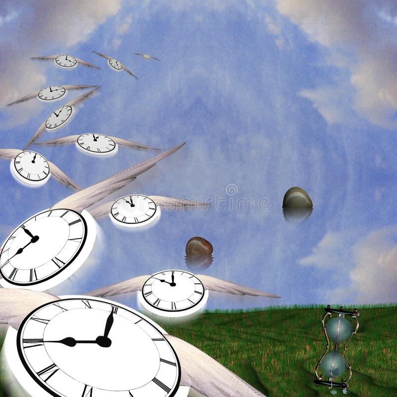 Time Flow. Symbolic composition. Hourglass and floating stones. Winged clocks represents flow of time royalty free illustration