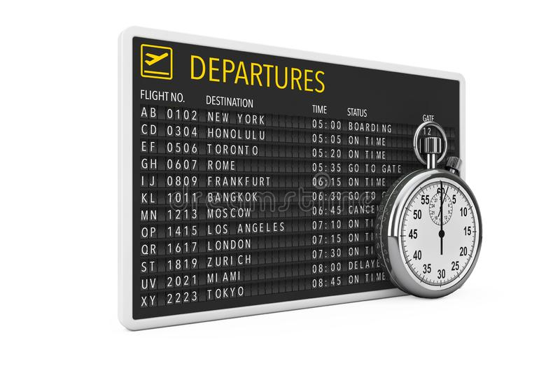 In Time Fly Concept. Airport Departures Table Board with Stopwatch. 3d Rendering. In Time Fly Concept. Airport Departures Table Board with Stopwatch on a white royalty free illustration
