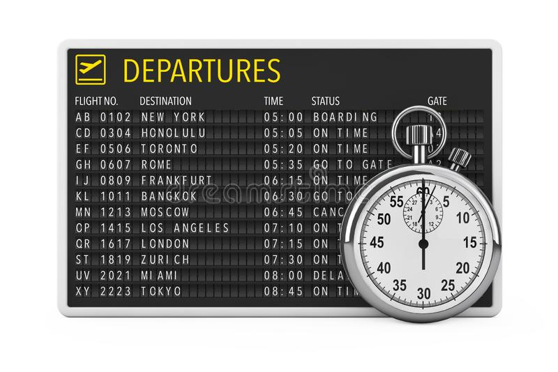 In Time Fly Concept. Airport Departures Table Board with Stopwatch. 3d Rendering. In Time Fly Concept. Airport Departures Table Board with Stopwatch on a white stock illustration