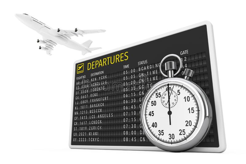 In Time Fly Concept. White Jet Passengers Airplane over Airport Departures Table Board with Stopwatch. 3d Rendering. In Time Fly Concept. White Jet Passengers royalty free illustration