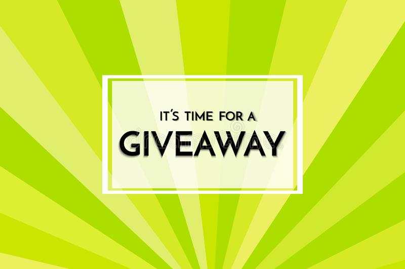 Time for a giveaway - banner template. Giveaway phrase on green, yellow and white background. stock illustration