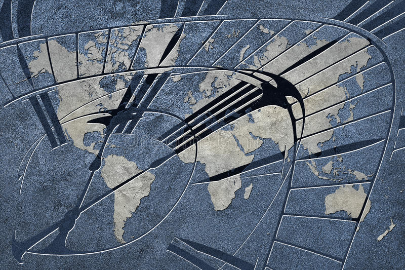 Time for global business. World Map with a clock. stock images