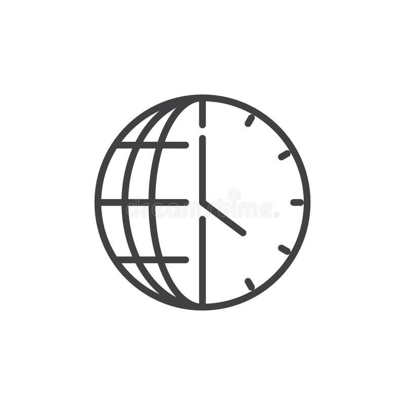 Time globe outline icon royalty free illustration