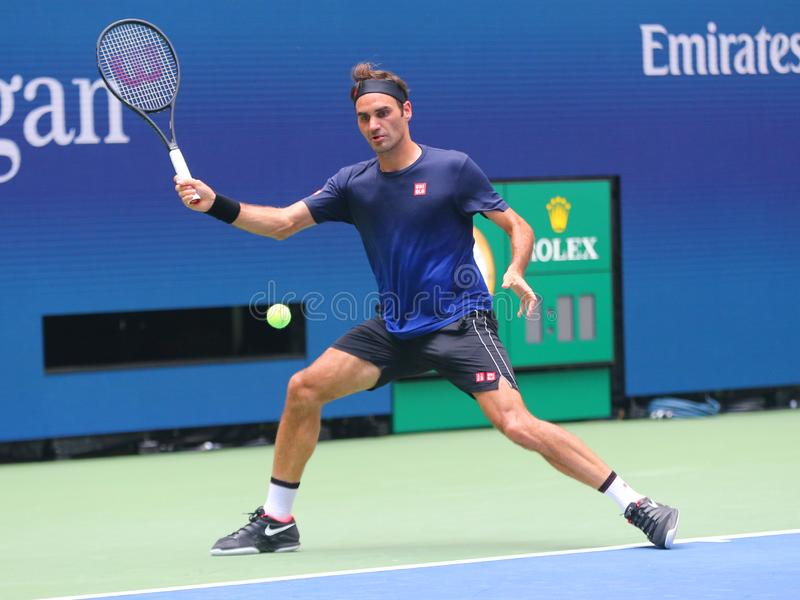 20-time Grand Slam champion Roger Federer of Switzerland practices for the 2019 US Open at National Tennis Center stock photo