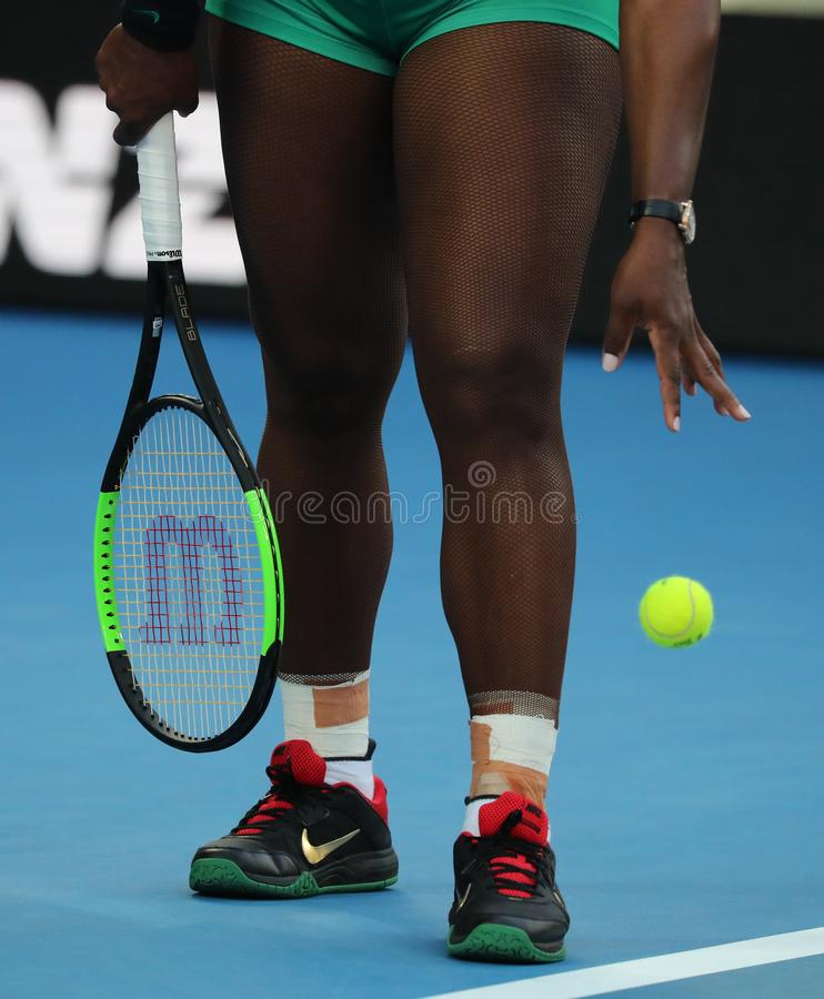 23-time Grand Slam Champion Serena Williams of United States plays with Wilson tennis racket during her match at 2019 AO. MELBOURNE, AUSTRALIA - JANUARY 23, 2019 royalty free stock photos