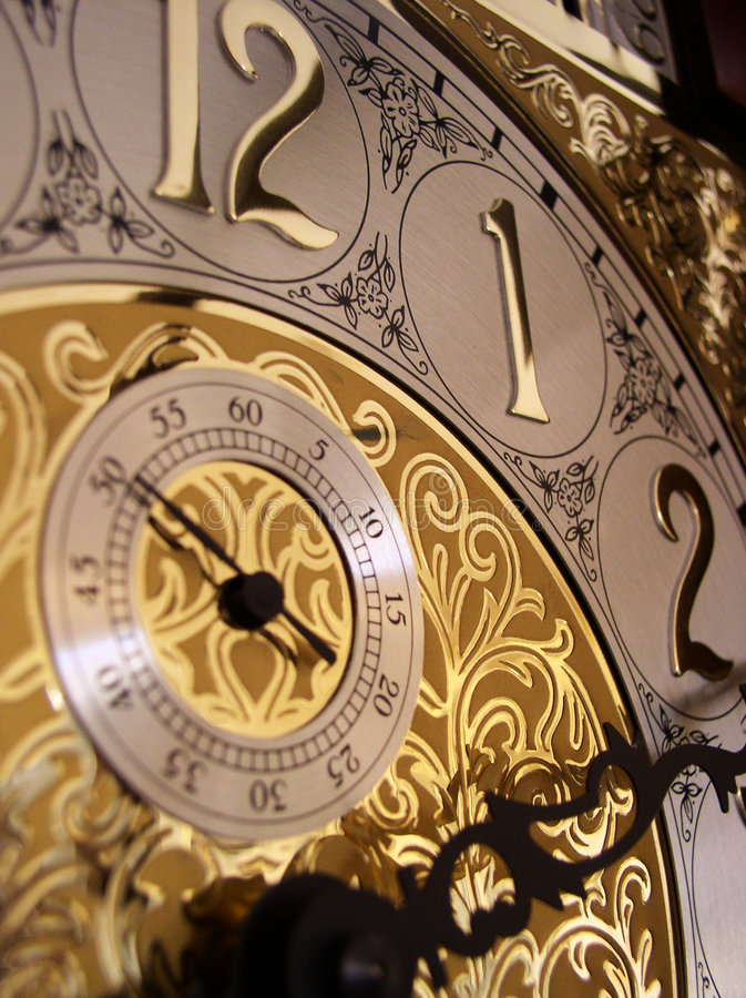 Download Time On A Grandfather Clock Stock Image - Image: 1081619