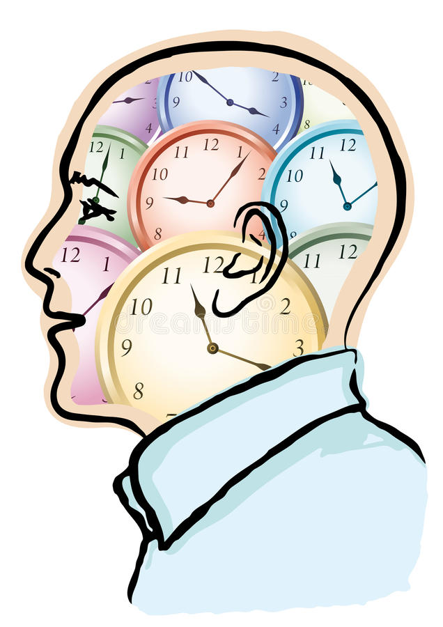 Time in the head stock illustration