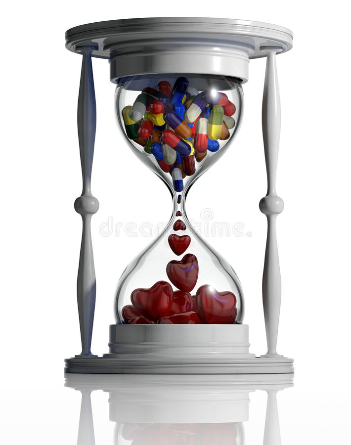 Time heals. Sand watch with medical pills converting to hearts inside isolated on white background. Medicine continue lifetime conceptual image. Time heals. 3d stock illustration