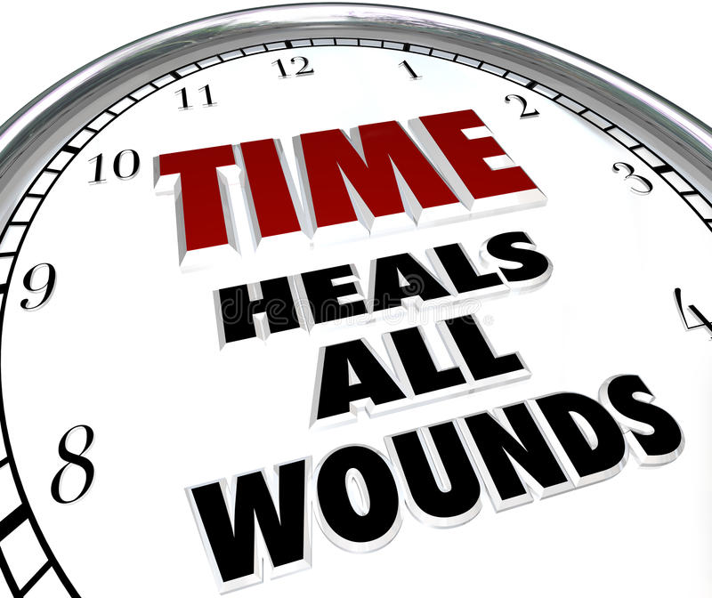Time Heals All Wounds Clock Saying - Forgiveness of Disputes. The saying Time Heals All Wounds on the face of a clock illustrating the forgiveness and resolved stock illustration