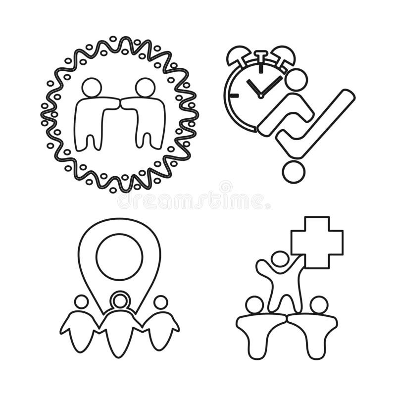 Time health location Commitment Teamwork Together Outline Logo. Time health location Commitment Teamwork Together Outline royalty free illustration