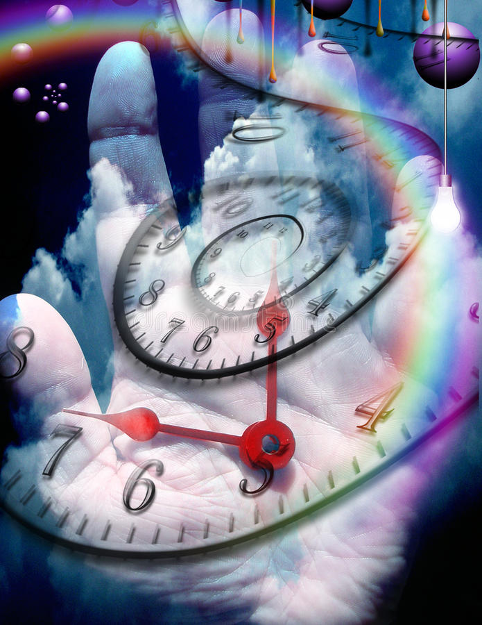 Time. Human hand with time elements stock illustration