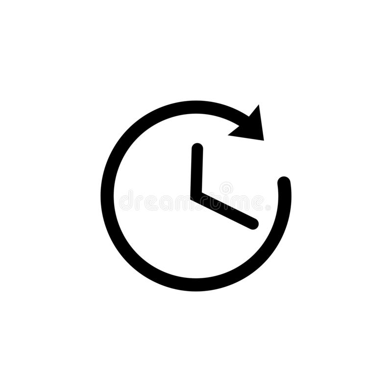Time icon in black. Clock symbol with arrow stock illustration
