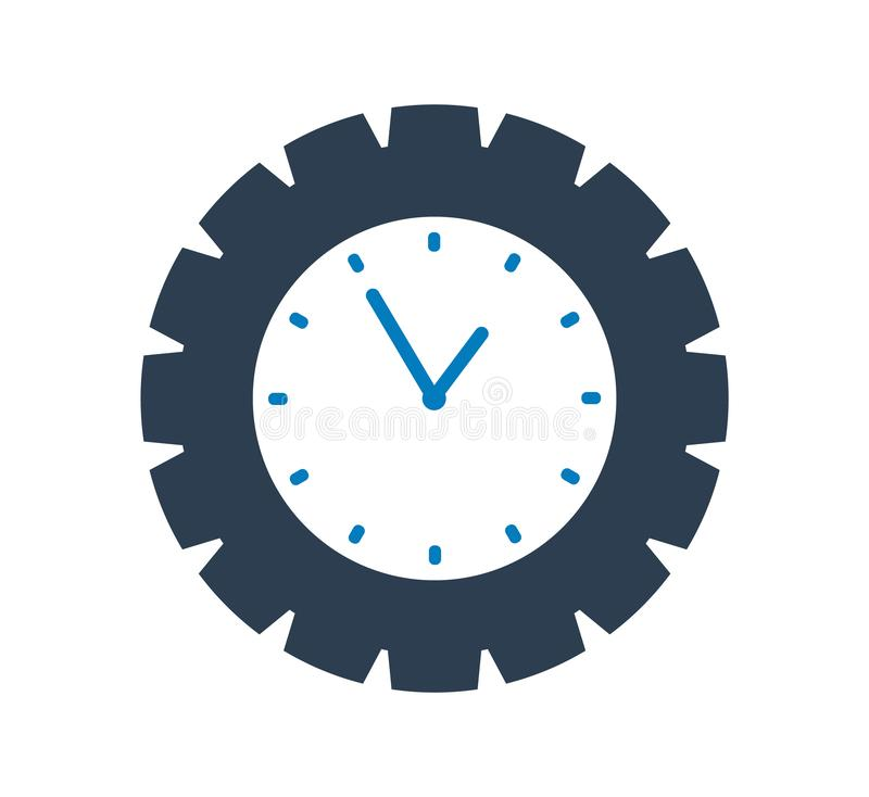 Time Icon with Clock and gear symbol. Vector EPS royalty free illustration
