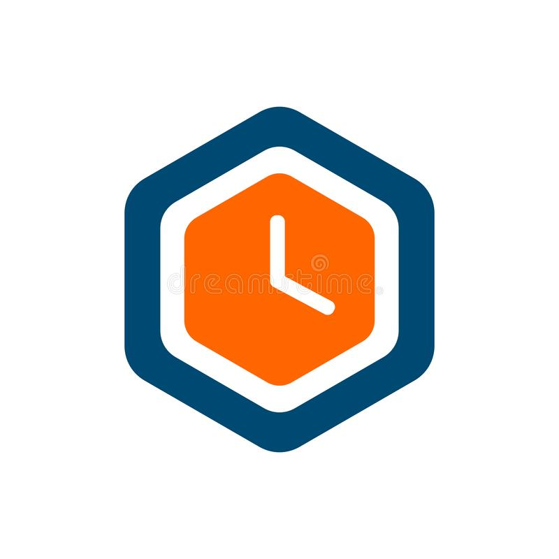 Time icon design. Clock icon in hexagon flat style - Vector.  vector illustration