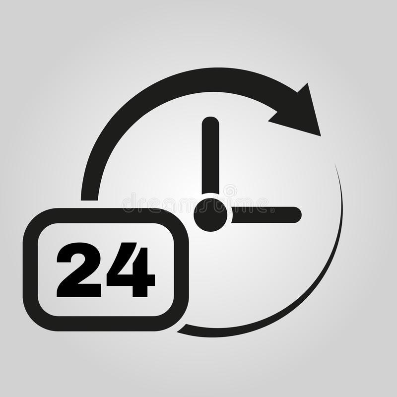 Time icon. Time and watch, timer, 24 hours symbol. UI. Web. Logo. Sign. Flat design. App. Stock vector illustration