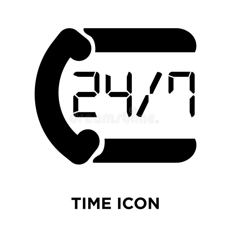 Time icon vector isolated on white background, logo concept of T. Ime sign on transparent background, filled black symbol royalty free illustration