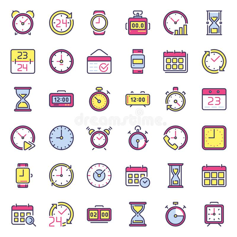 Time icons. Alarm clock, hourglass timer and deadline watch. Colorful 24 hours clocks flat icon isolated vector set stock illustration