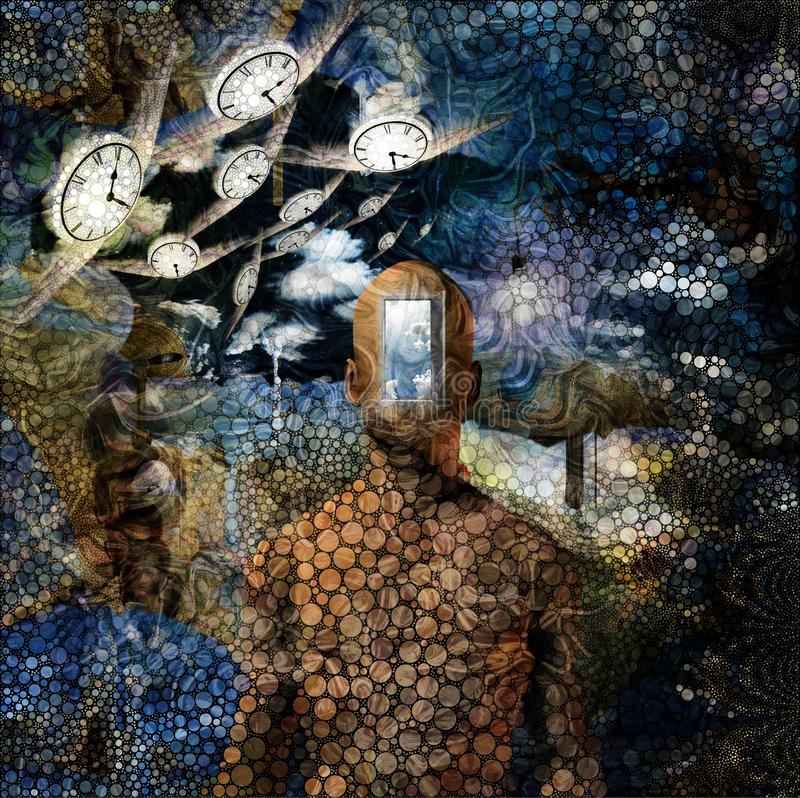 Time and Ideas. Surreal painting. Opened door to another world. Salvador Dali style stock illustration