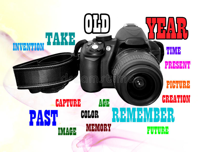 TIME THROUGH THE IMAGE. Camera image to fix the big favorite moments in the past, present and future stock photo