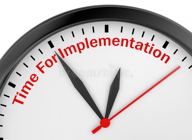Time for implementation. Motivation message on concept clock, 3d rendering royalty free stock photos