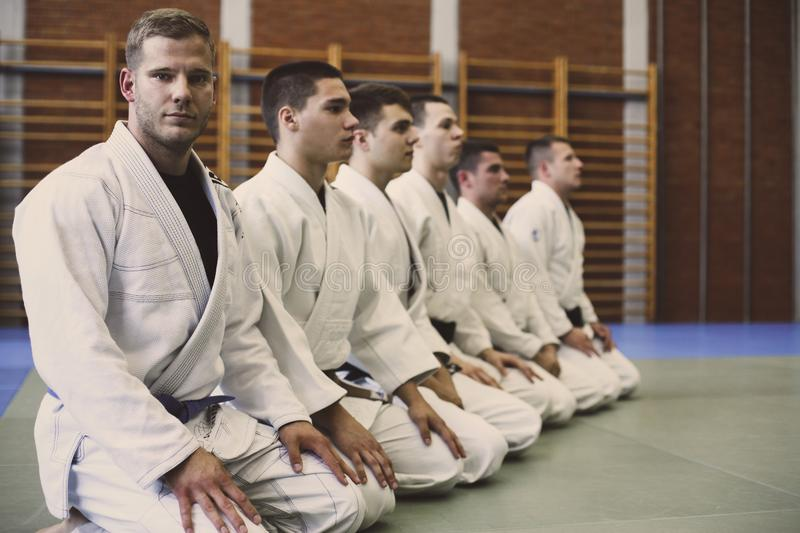 Time for judo class. Young males stock photos