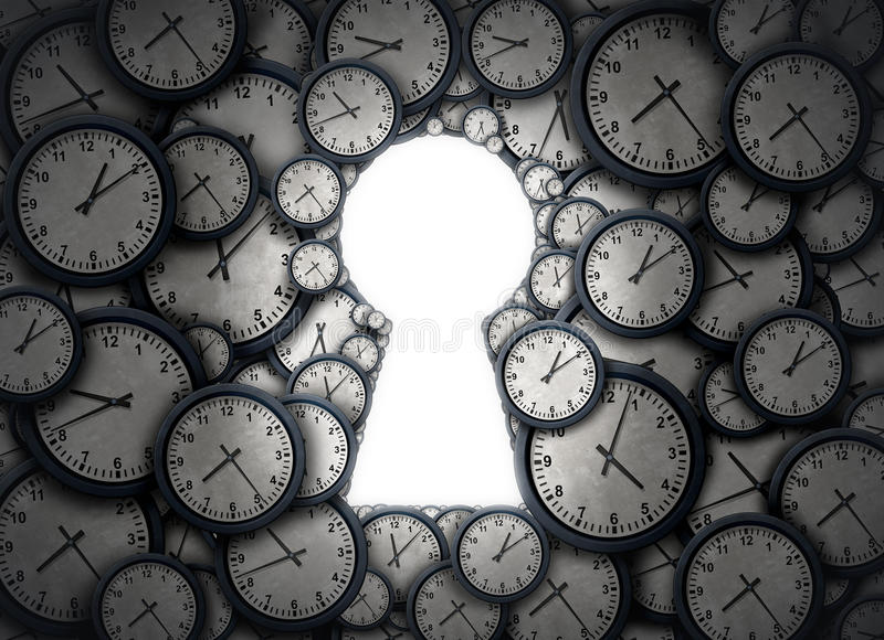 Time Key Solution. As a group of clock objects shaped as an open keyhole as a success metaphor for access and time zone management of business schedule as a 3D stock illustration