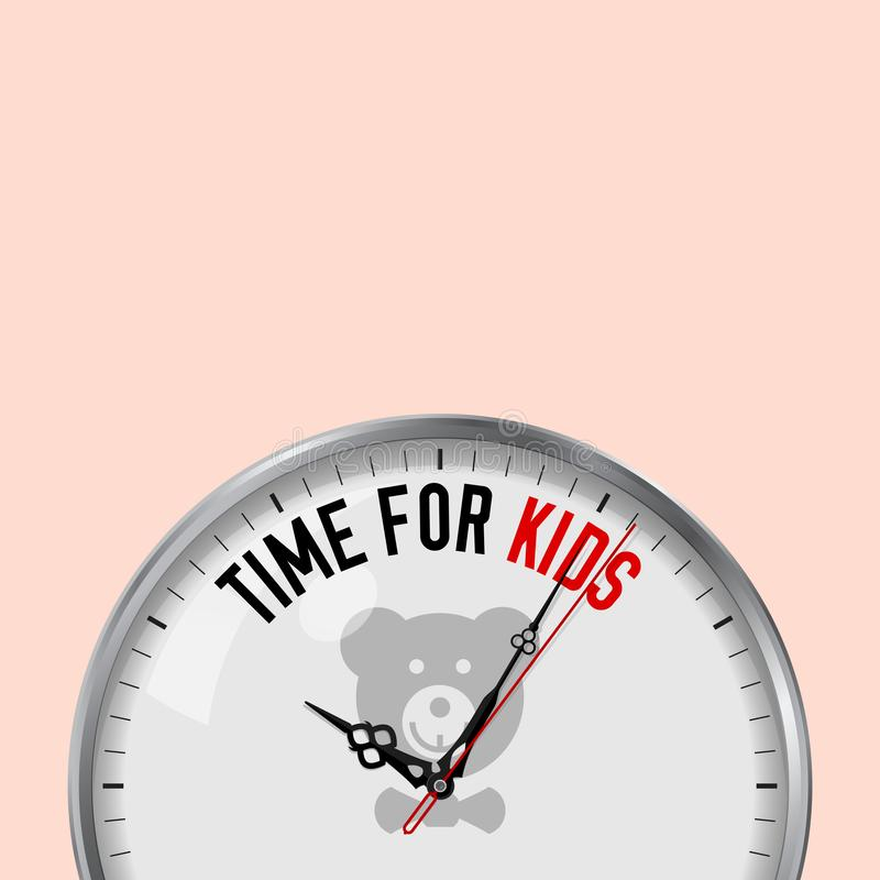 Time for Kids. White Vector Clock with Motivational Slogan. Analog Metal Watch with Glass. Soft Toy Icon royalty free illustration