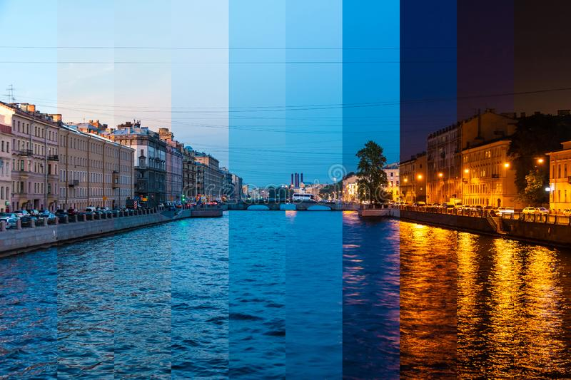 Time-lapse collage of slices of different times of day. Beautiful view of the Fontanka River and historic buildings from the Krasnoarmeyskiy bridge, Saint royalty free stock photos