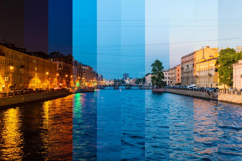 Time-lapse collage of slices of different times of day. Beautiful view of the Fontanka River and historic buildings from the Krasnoarmeyskiy bridge, Saint royalty free stock images