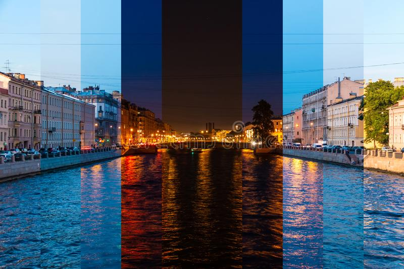 Time-lapse collage of slices of different times of day. Beautiful view of the Fontanka River and historic buildings from the Krasnoarmeyskiy bridge, Saint royalty free stock photography