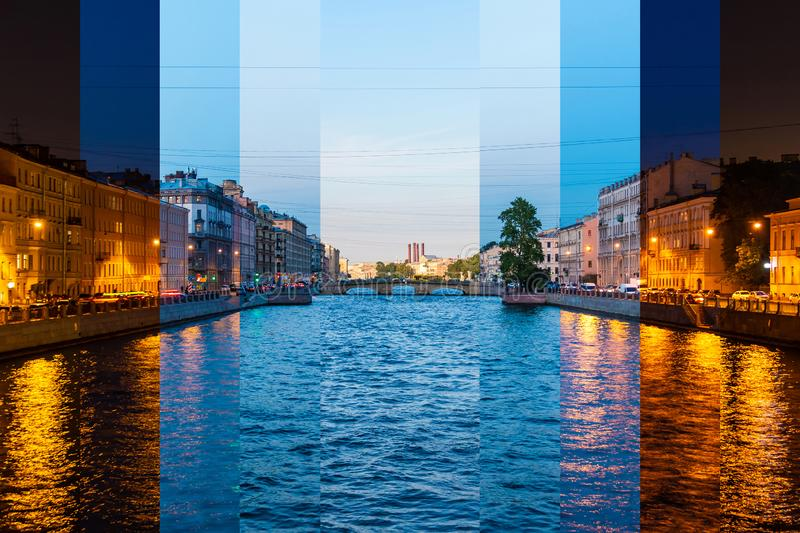 Time-lapse collage of slices of different times of day. Beautiful view of the Fontanka River and historic buildings from the Krasnoarmeyskiy bridge, Saint royalty free stock photo