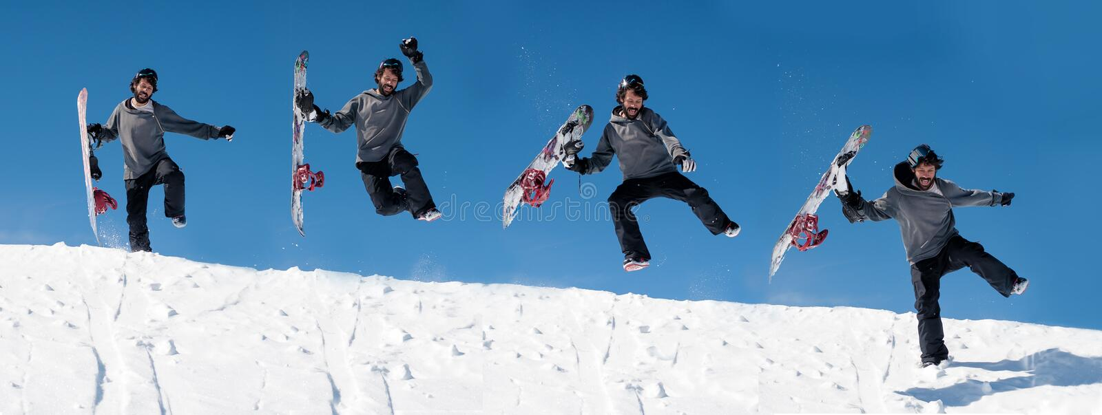Time-lapse funny snowboarding jump sequence. Crazy freeride snowboarder make fun. And jump from snow hill with his snowboard in his hand royalty free stock photos