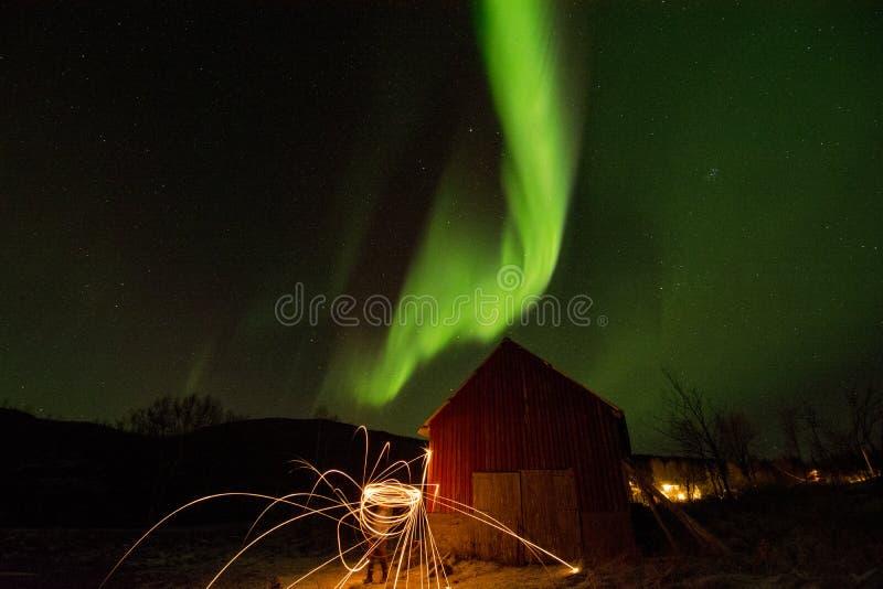 Time Lapse Photo of Aurora Borealis stock images