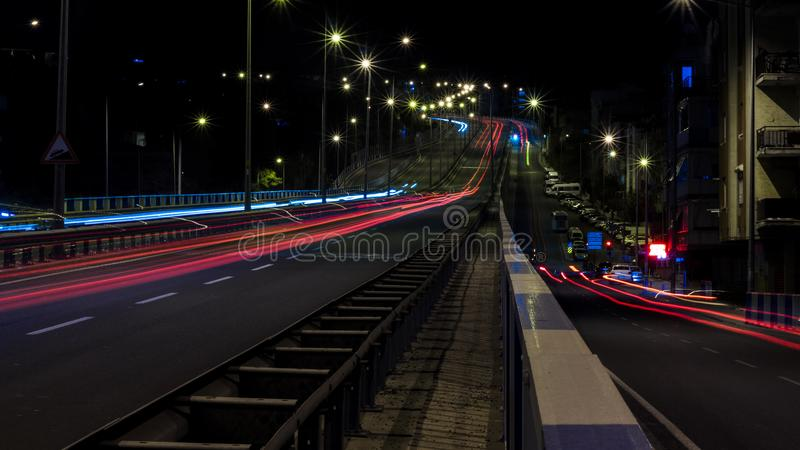 Time Lapse Photo of Road With Cars Passing royalty free stock photography