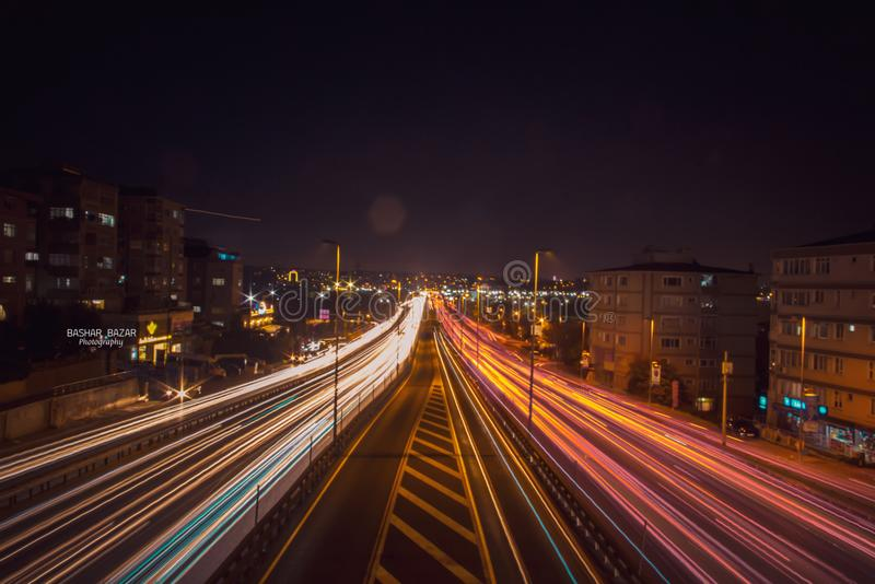 Time Lapse Photography of Road Beside Buildings stock photo